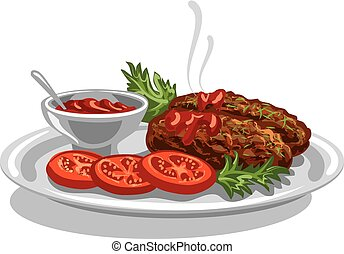 burgers with tomato sauce - illustration of hot cutlets...