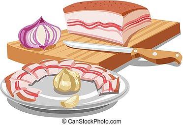 sliced pork lard - illustration of sliced pork lard on...