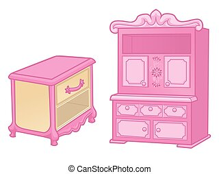 Curbstone and cupboard. Elegant furniture in rich pink...