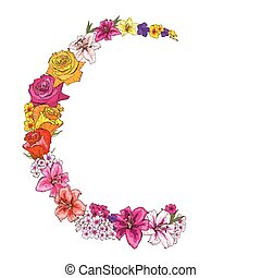 Half round floral frame of colorfull flowers. Roses, lilies, pansies, phloxes. Vector illustration.