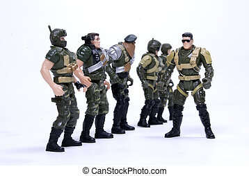 Toy soldiers - Collection of toy soldiers in camouflage over...