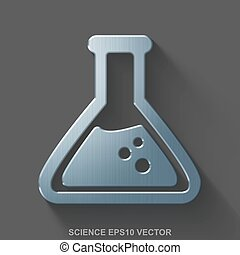 Flat metallic Science 3D icon. Polished Steel Flask on Gray background. EPS 10, vector.