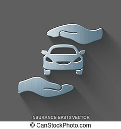 Flat metallic Insurance 3D icon. Polished Steel Car And Palm on Gray background. EPS 10, vector.