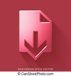 Flat metallic web design 3D icon. Red Glossy Metal Download on Red background. EPS 10, vector.