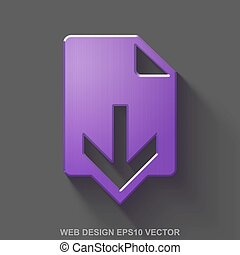 Flat metallic web design 3D icon. Purple Glossy Metal Download on Gray background. EPS 10, vector.