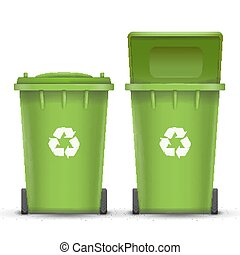 Green Recycling Bin Bucket Vector For Glass Trash. Opened And Closed. Front View. Sign Arrow. Isolated Illustration