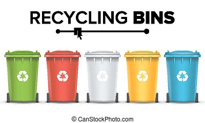 Recycling Bins Isolated Vector. Set Of Red, Green, Blue, Yellow, White Buckets. For Paper, Glass, Metal, Plastic Recycling Waste Sorting. Isolated