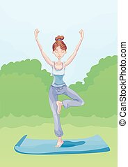 Young girl practicing yoga outdoors. Vector illustration.
