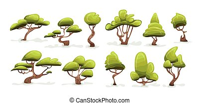 Tree set. Cartoon vector illustration, isolated on white.