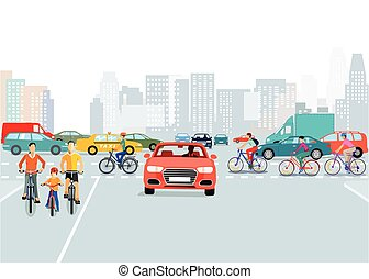 Stadt-Verkehr-.eps - Cars and cyclists in the city,...