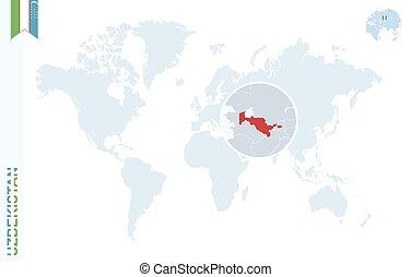 Blue world map with magnifying on Uzbekistan.
