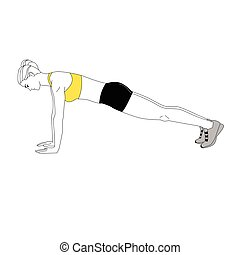 The girl is doing sports exercises bench press isolated on...