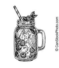 lemonade ink sketch - lemonade with raspberry in mason jar....