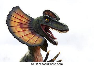 Dilophosaurus Dinosaur showing his teeth-Stock Photos