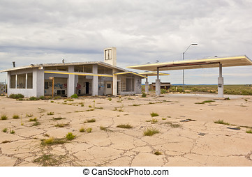 Ghost of Route 66 - The ghostly remains of a Gas Station in...