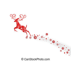 Flying Deer - flying reindeer with snowflakes