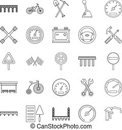 Roadbed icons set, outline style - Roadbed icons set....