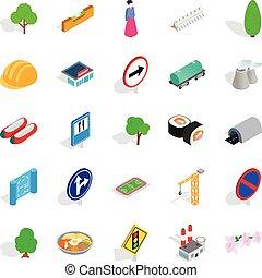 Wayside icons set, isometric style - Wayside icons set....