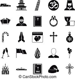 Kirk icons set, simple style - Kirk icons set. Simple set of...