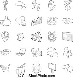Business scope icons set, outline style