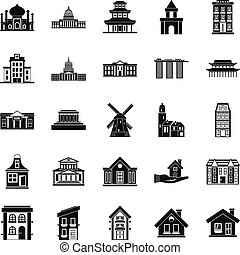 Building site icons set, simple style - Building site icons...