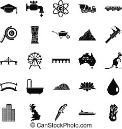 Crossing icons set, simple style - Crossing icons set....