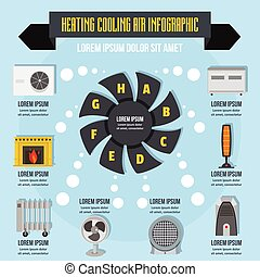 Heating cool air infographic concept, flat style - Heating...
