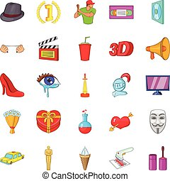Celluloid icons set, cartoon style - Celluloid icons set....