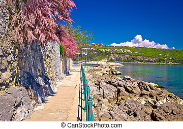 Lungomare coast famous walkway in Opatija, Kvarner bay,...