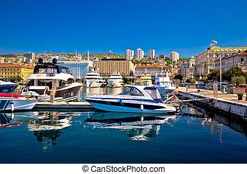 City of Rijeka yachting waterfront view, Kvarner bay,...
