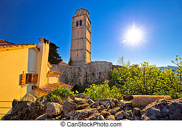 Old town of Kastav above Kvarner bay view, Opatija riviera...