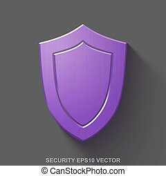 Flat metallic privacy 3D icon. Purple Glossy Metal Shield on Gray background. EPS 10, vector.