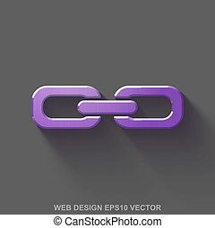 Flat metallic web design 3D icon. Purple Glossy Metal Link on Gray background. EPS 10, vector.