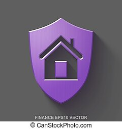Flat metallic finance 3D icon. Purple Glossy Metal Shield on Gray background. EPS 10, vector.
