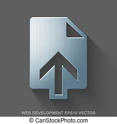 Flat metallic web design 3D icon. Polished Steel Upload on Gray background. EPS 10, vector.