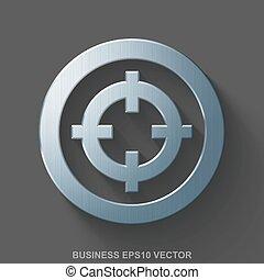 Flat metallic finance 3D icon. Polished Steel Target on Gray background. EPS 10, vector.