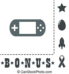 Handheld game console. Simple flat symbol icon on white...