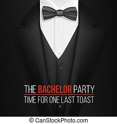 The Bachelor Party Invitation Template. Realistic 3D Vector...