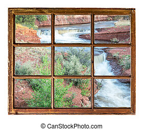 creek with waterfalls at Colorado foothills