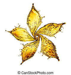 flower made of water splash of yellow color. 3d rendering