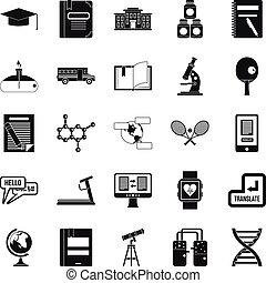 Varsity icons set, simple style - Varsity icons set. Simple...