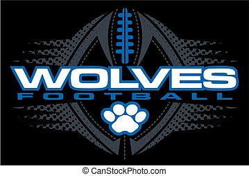 wolves football team design with paw print and ball for...