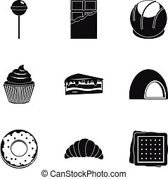 Sweets icon set, simple style