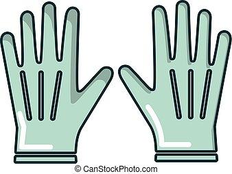 Gardening gloves icon, cartoon style - Gardening gloves...