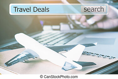 search Travel deals in a search box for travel agency