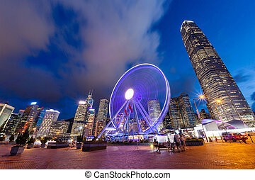 Night Scene of Hong Kong Cityscape at Central Pier