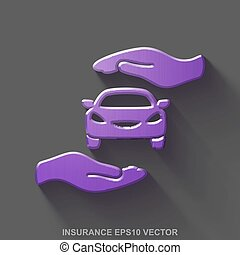 Flat metallic Insurance 3D icon. Purple Glossy Metal Car And Palm on Gray background. EPS 10, vector.