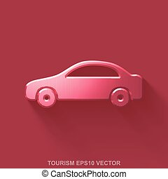 Flat metallic tourism 3D icon. Red Glossy Metal Car on Red...