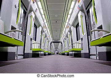 Subway Car - Inside a green empty subway car