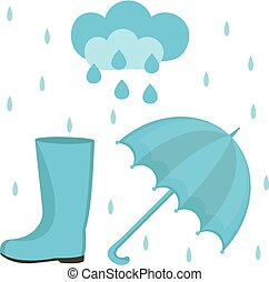 Rain set of flat or cartoon style. Autumn collection with umbrella, cloud, rubber boots. Isolated on white background. Vector illustration.